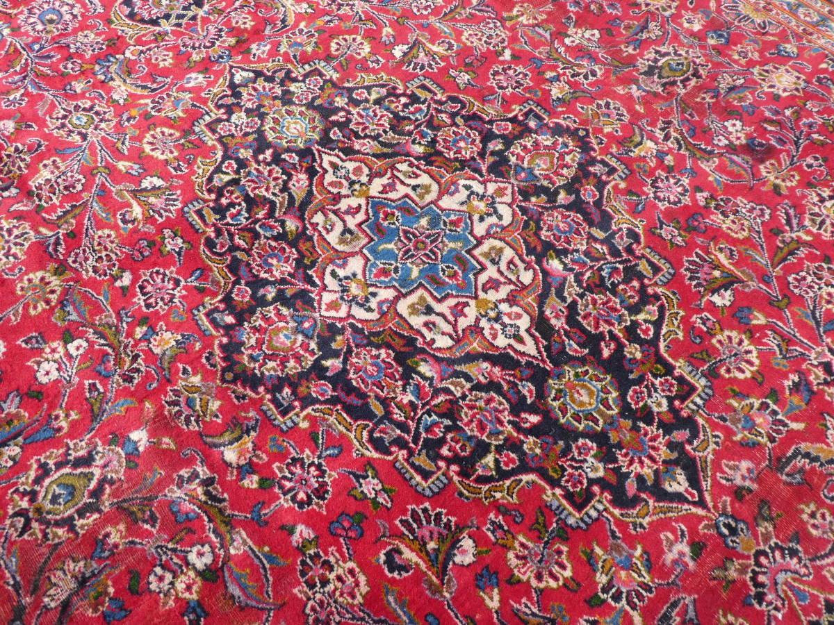 ◆ペルシャ絨毯◆大判◆イラン産◆手織り◆378×290cm ギャッベ アンティーク家具 骨董 古美術 ビンテージ 古道具 マット カーペット_画像4