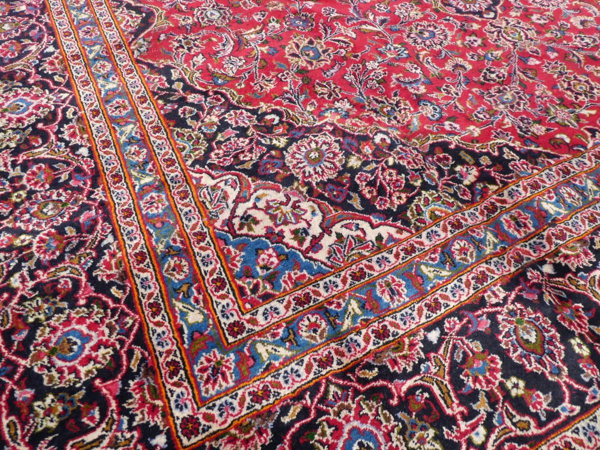 ◆ペルシャ絨毯◆大判◆イラン産◆手織り◆378×290cm ギャッベ アンティーク家具 骨董 古美術 ビンテージ 古道具 マット カーペット_画像5