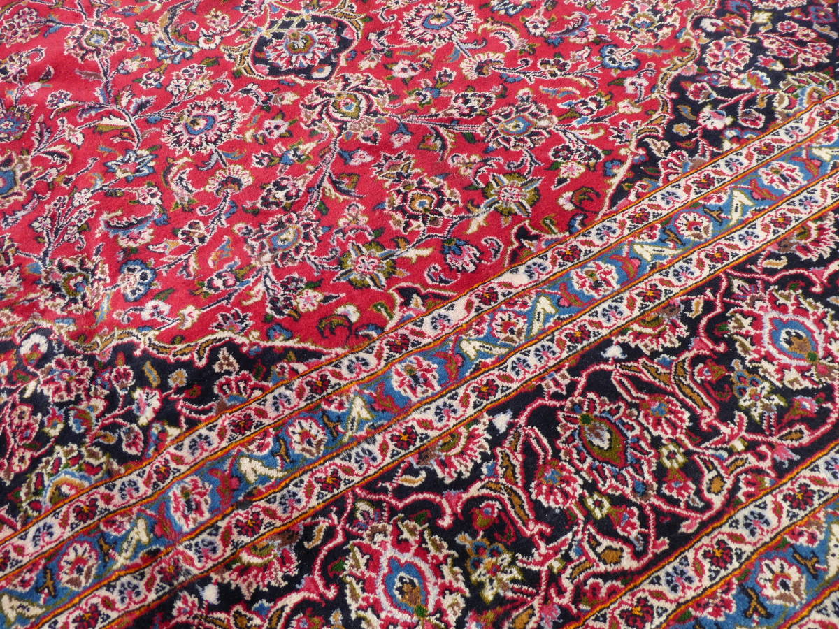 ◆ペルシャ絨毯◆大判◆イラン産◆手織り◆378×290cm ギャッベ アンティーク家具 骨董 古美術 ビンテージ 古道具 マット カーペット_画像6
