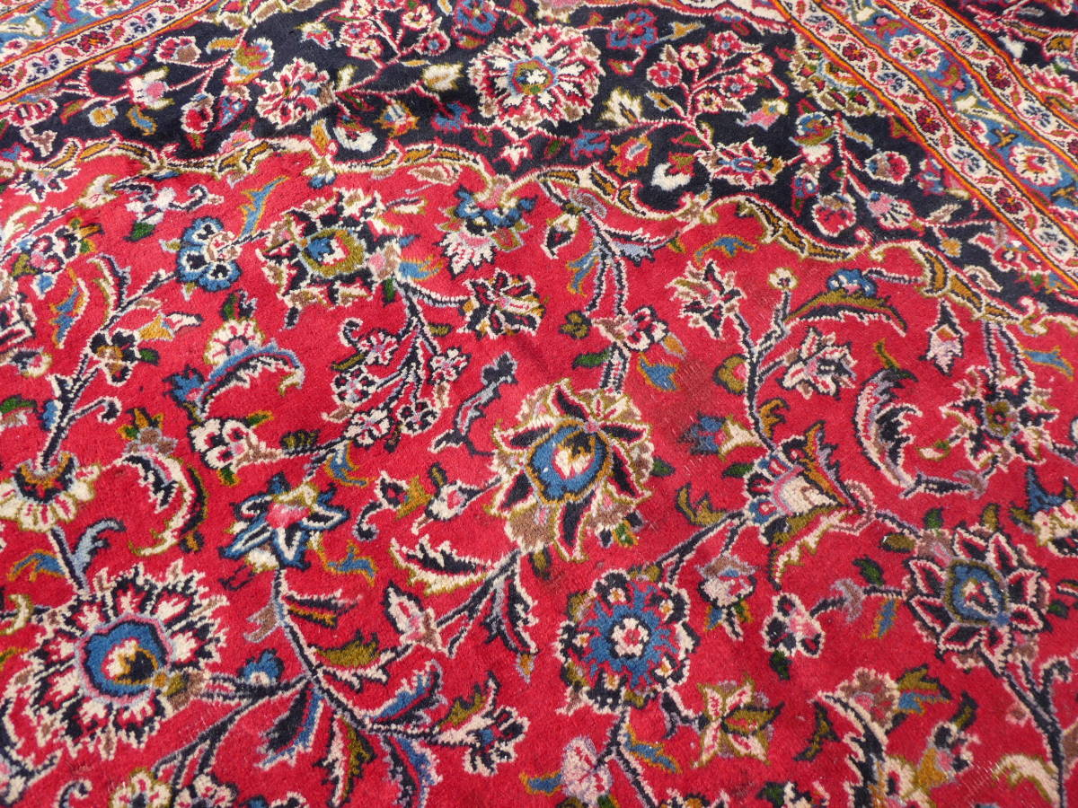 ◆ペルシャ絨毯◆大判◆イラン産◆手織り◆378×290cm ギャッベ アンティーク家具 骨董 古美術 ビンテージ 古道具 マット カーペット_画像10