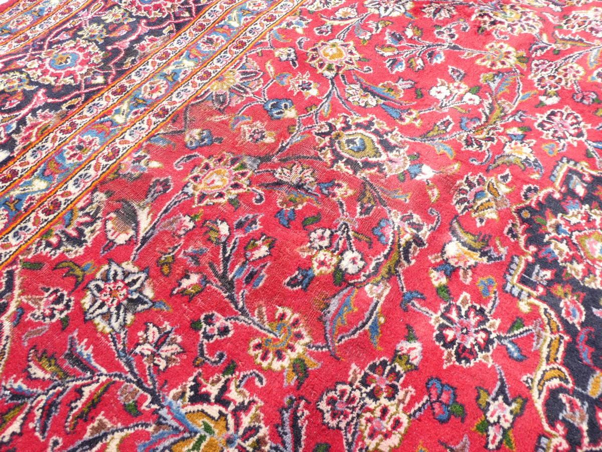 ◆ペルシャ絨毯◆大判◆イラン産◆手織り◆378×290cm ギャッベ アンティーク家具 骨董 古美術 ビンテージ 古道具 マット カーペット_画像9