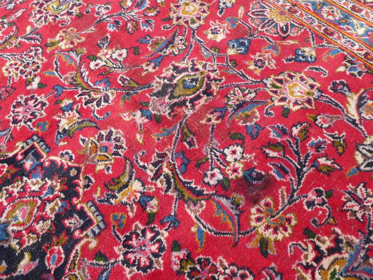 ◆ペルシャ絨毯◆大判◆イラン産◆手織り◆378×290cm ギャッベ アンティーク家具 骨董 古美術 ビンテージ 古道具 マット カーペット_画像8