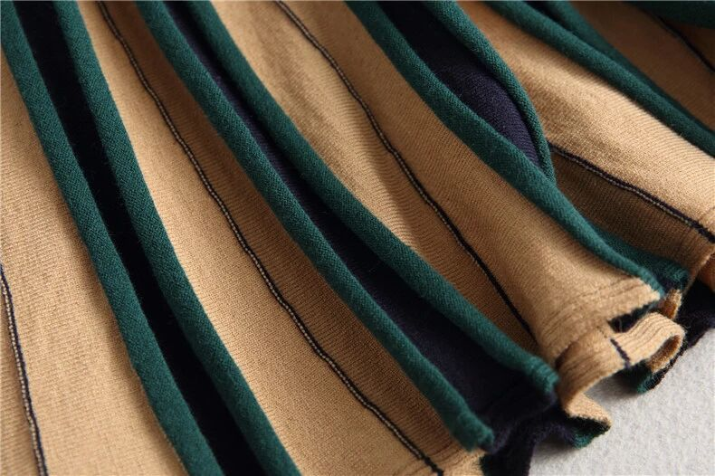 new goods simple *rete e-s wool knitted Flare gathered skirt color scheme green