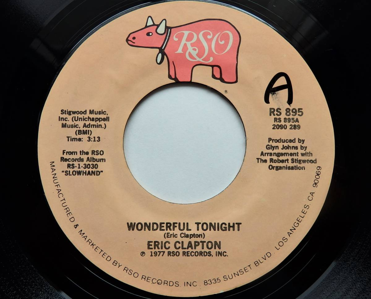 【USオリジナル7インチEP/4枚まとめて送料無料/1977年盤】ERIC CLAPTON/Wonderful Tonight b/w Peaches And Diesel_画像2