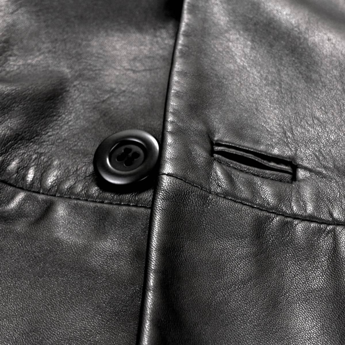 定価30万「ARMANI/アルマーニ」とろける手触りの極上羊革を贅沢に使用した!圧倒的オーラ漂う◎ 大人のレザージャケット 黒 50 XL程度_画像5