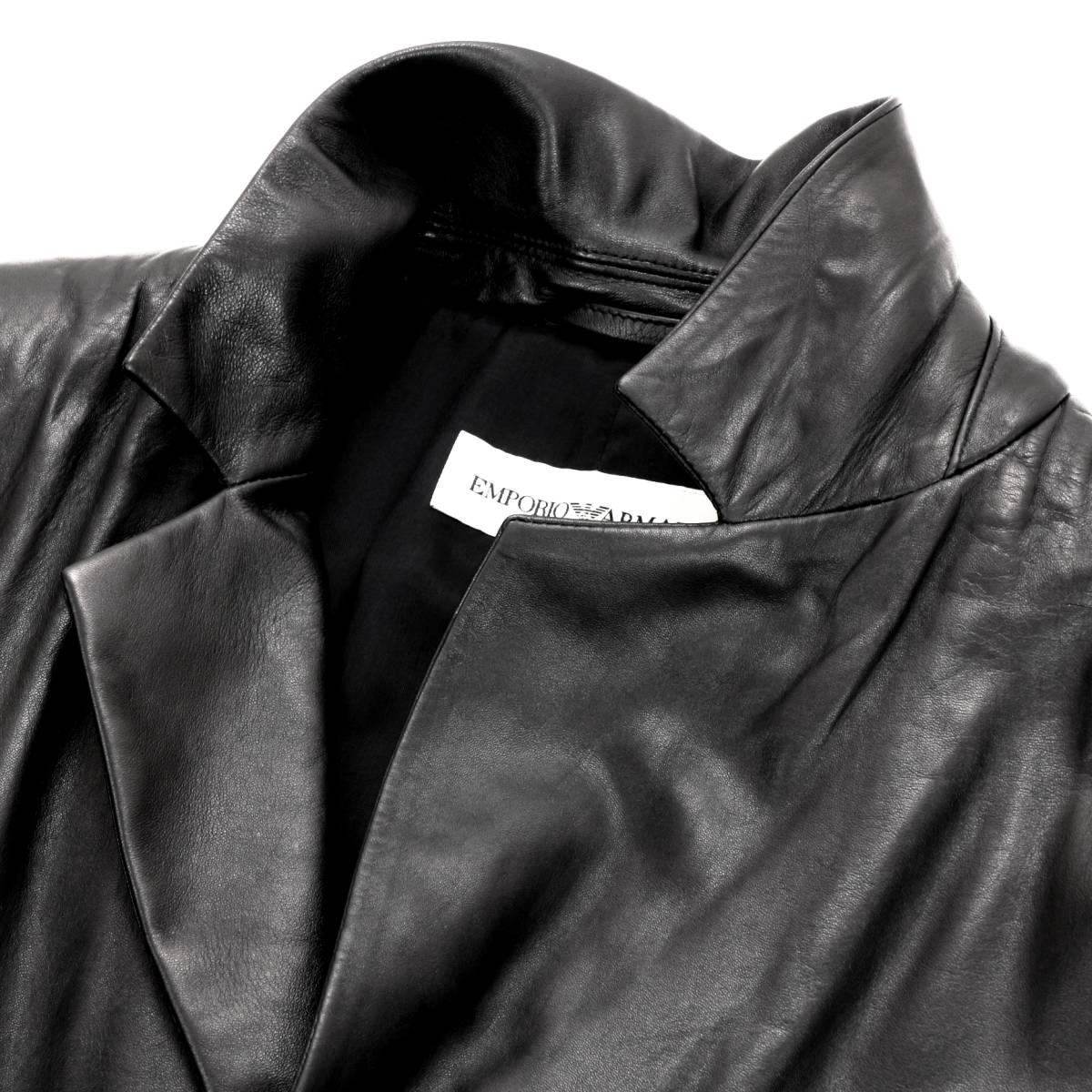 定価30万「ARMANI/アルマーニ」とろける手触りの極上羊革を贅沢に使用した!圧倒的オーラ漂う◎ 大人のレザージャケット 黒 50 XL程度_画像6