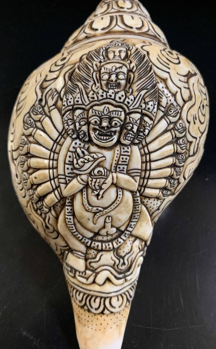 ◆チベット密教法具 法螺貝(シャンカ)マハーカーラ(大黒天/だいこくてん)