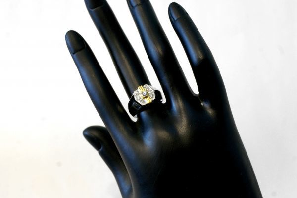 ○新品同様 プラチナ Pt900 イエローゴールド K18 印台 ダイヤ 0.12ct 0.20ct 指輪 リング 10.7g RDX5_画像7