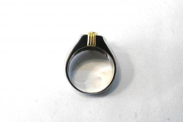 ○新品同様 プラチナ Pt900 イエローゴールド K18 印台 ダイヤ 0.12ct 0.20ct 指輪 リング 10.7g RDX5_画像4