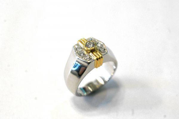 ○新品同様 プラチナ Pt900 イエローゴールド K18 印台 ダイヤ 0.12ct 0.20ct 指輪 リング 10.7g RDX5_画像3