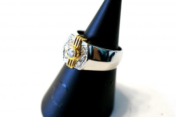 ○新品同様 プラチナ Pt900 イエローゴールド K18 印台 ダイヤ 0.12ct 0.20ct 指輪 リング 10.7g RDX5_画像2
