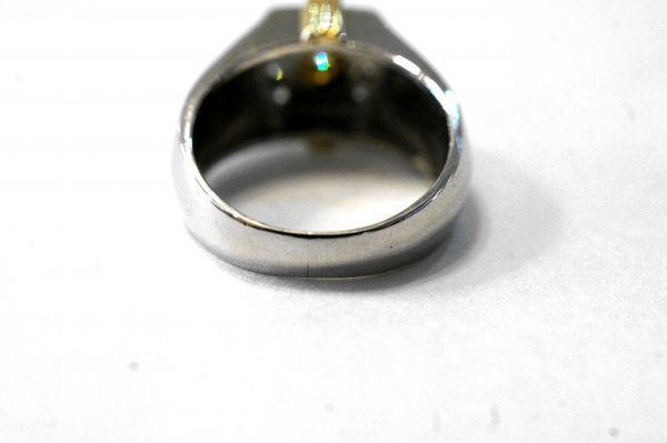 ○新品同様 プラチナ Pt900 イエローゴールド K18 印台 ダイヤ 0.12ct 0.20ct 指輪 リング 10.7g RDX5_画像6