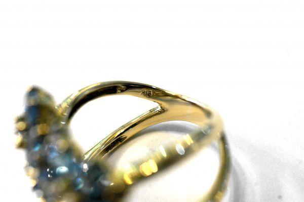 ○新品同様 ホワイトトパーズ ブルートパーズ K18 イエローゴールド 指輪 リング 10.8g R0078_画像5