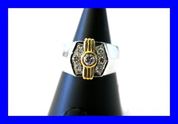 ○新品同様 プラチナ Pt900 イエローゴールド K18 印台 ダイヤ 0.12ct 0.20ct 指輪 リング 10.7g RDX5_画像1