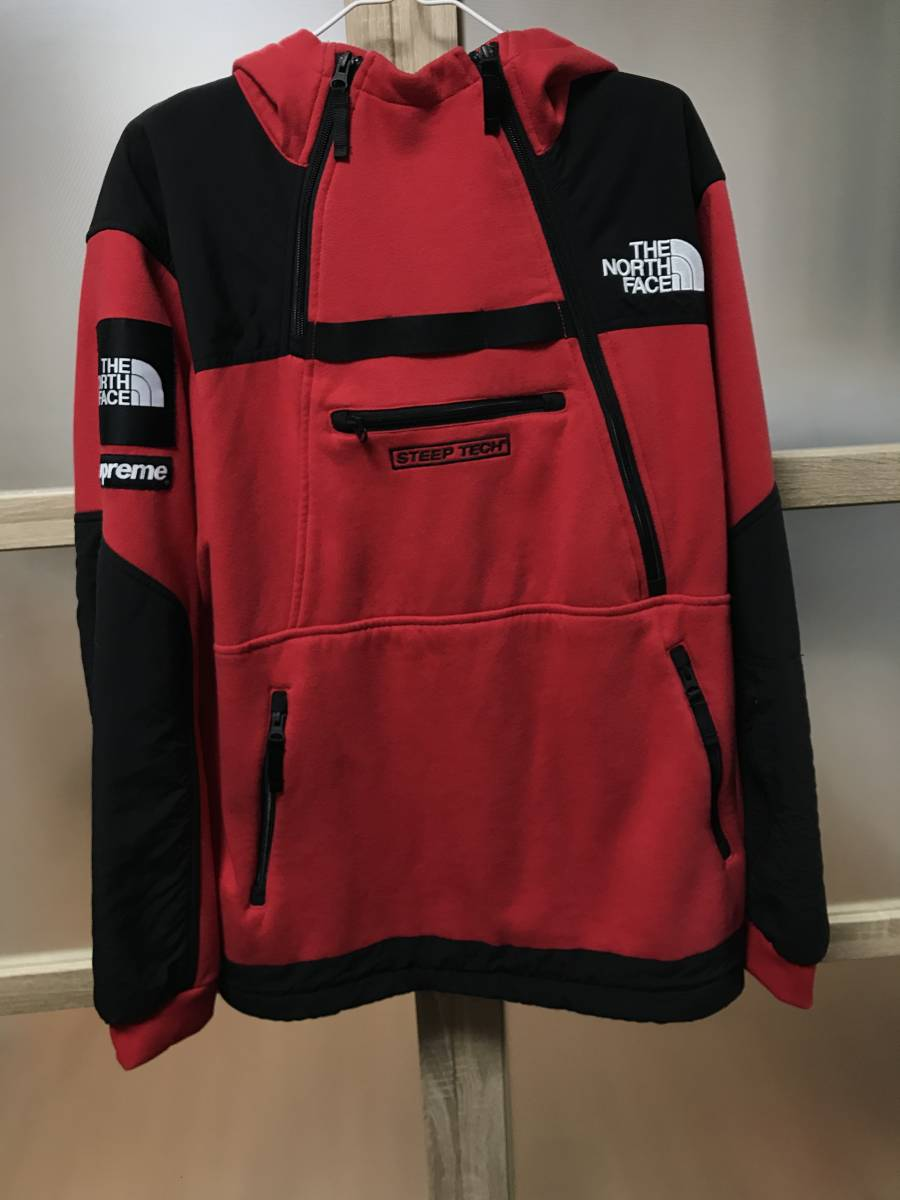 正規品 16ss Supreme the north face steeptech sweatshirt red シュプリーム ノースフェ