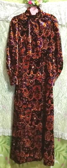 黒紫金ベロアエスニック柄ロングマキシワンピース Black purple velour ethnic pattern long maxi onepiece_画像5