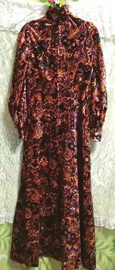 黒紫金ベロアエスニック柄ロングマキシワンピース Black purple velour ethnic pattern long maxi onepiece_画像6