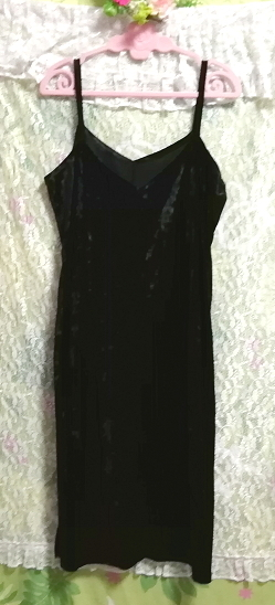 黒ブラックベロアロングキャミソールワンピース Black velour long camisole onepiece_画像2
