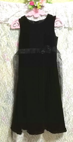 モロッコ製黒ブラックベロアリボンノースリーブワンピースドレス Made in morocco black velour ribbon sleeveless onepiece dress_画像3
