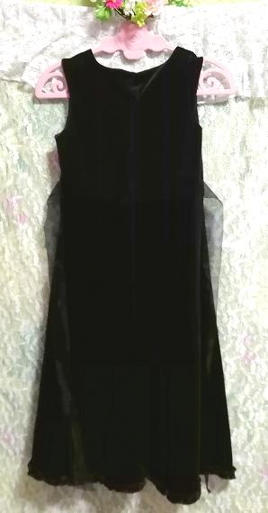 モロッコ製黒ブラックベロアリボンノースリーブワンピースドレス Made in morocco black velour ribbon sleeveless onepiece dress_画像4