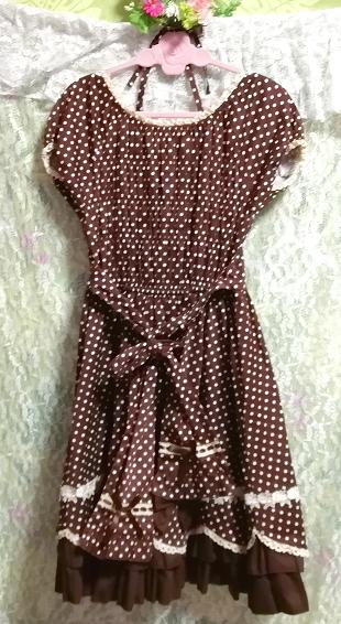 茶色ブラウンメイドゴスロリ白水玉柄スカートワンピース Brown maid gothic lolita white polka dot skirt onepiece_画像4