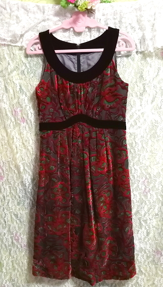 赤花柄ベロアノースリーブミニスカートワンピース Red flower pattern velour sleeveless mini skirt onepiece_画像3
