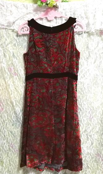 赤花柄ベロアノースリーブミニスカートワンピース Red flower pattern velour sleeveless mini skirt onepiece_画像4