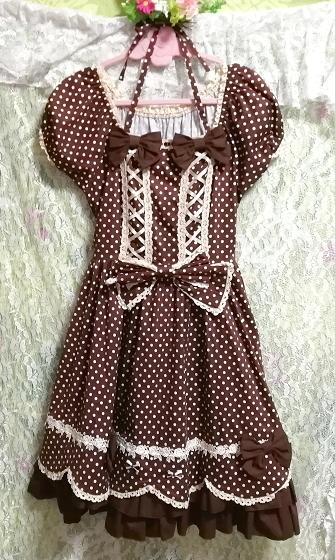 茶色ブラウンメイドゴスロリ白水玉柄スカートワンピース Brown maid gothic lolita white polka dot skirt onepiece_画像3