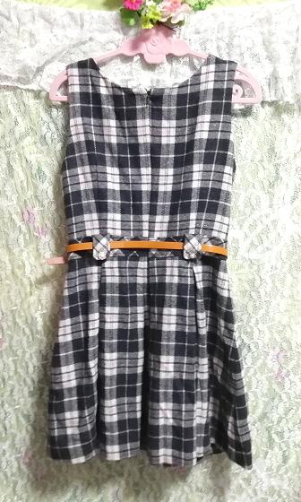 白黒チェック柄オレンジベルトノースリーブミニスカートワンピース White black check pattern orange belt sleeveless skirt onepiece_画像4