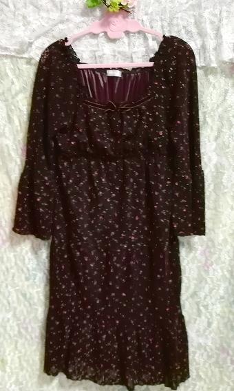 焦茶ブラウン長袖花柄フレアレースチュニック/ワンピース/トップス Dark brown long sleeve flower pattern lace tunic onepiece tops_画像3