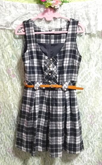 白黒チェック柄オレンジベルトノースリーブミニスカートワンピース White black check pattern orange belt sleeveless skirt onepiece_画像3