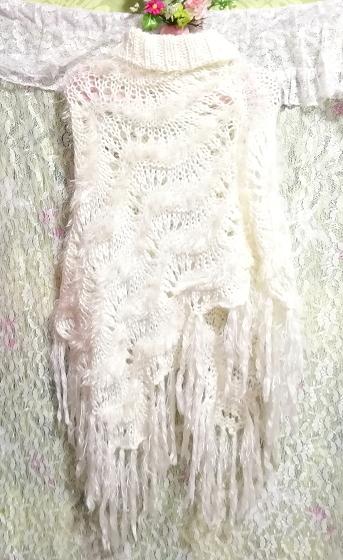 白ホワイトふわふわロングフリンジポンチョケープ White fluffy long fringe poncho cape_画像5