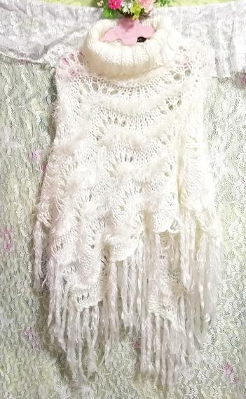 白ホワイトふわふわロングフリンジポンチョケープ White fluffy long fringe poncho cape_画像4