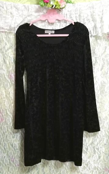日本製黒ブラックベロア葉柄長袖チュニック/ワンピース/トップス Made in japan black velour petiole long sleeve tunic onepiece tops_画像5