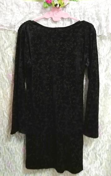 日本製黒ブラックベロア葉柄長袖チュニック/ワンピース/トップス Made in japan black velour petiole long sleeve tunic onepiece tops_画像6