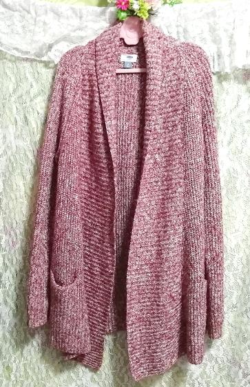 赤紫ニットセーター/カーディガン/羽織 Red purple knit sweater cardigan coat_画像4