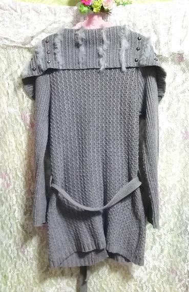 灰グレーニットセーターファー襟/カーディガン/羽織 Ash gray knit sweater fur collar cardigan_画像3