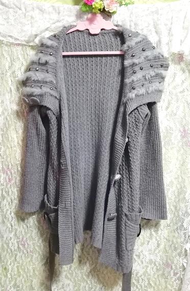 灰グレーニットセーターファー襟/カーディガン/羽織 Ash gray knit sweater fur collar cardigan_画像2