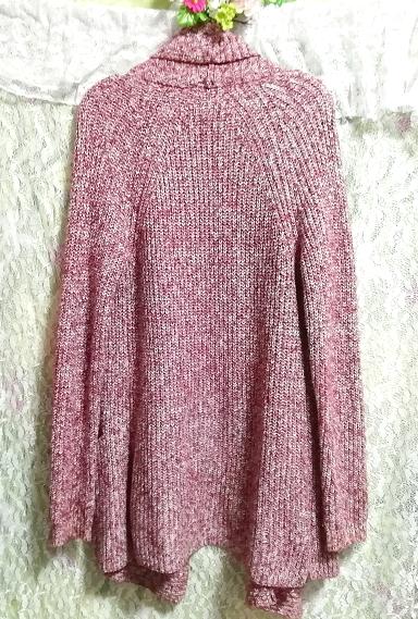 赤紫ニットセーター/カーディガン/羽織 Red purple knit sweater cardigan coat_画像5
