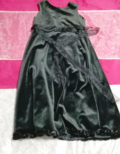 モロッコ製黒ブラックベロアリボンノースリーブワンピースドレス Made in morocco black velour ribbon sleeveless onepiece dress_画像1