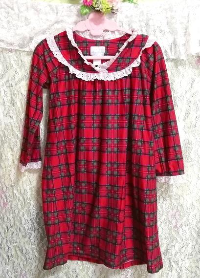 赤チェック柄長袖白レースチュニック/ワンピース/トップス Red check pattern long sleeve white lace tunic onepiece tops_画像3