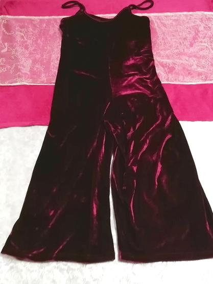 ベロアパープルワインレッドキャミソールワンピーススカーチョ Velour purple wine red camisole onepiece scarcho_画像1