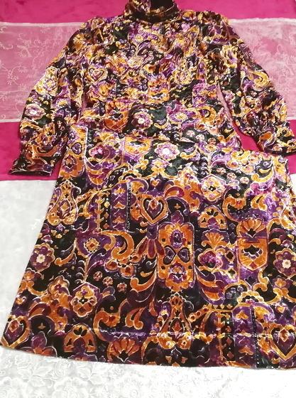 黒紫金ベロアエスニック柄ロングマキシワンピース Black purple velour ethnic pattern long maxi onepiece_画像3