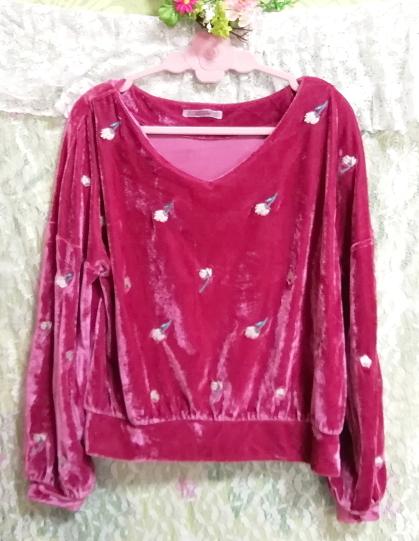 ピンク光沢長袖花柄チュニック/トップス Pink luster long sleeve flower pattern tunic tops_画像3