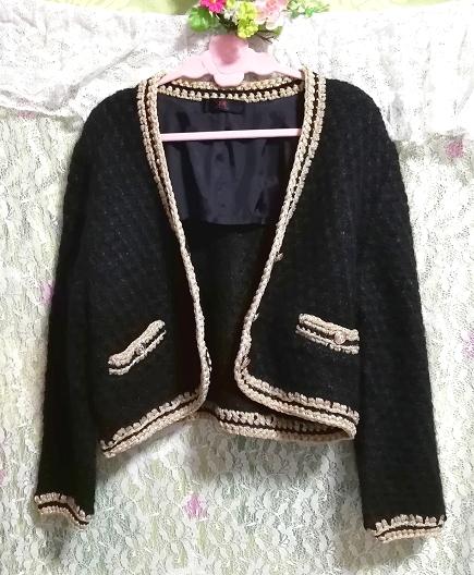 黒と金絹シルク編みニットセーター/カーディガン/羽織 Black and gold silk knit sweater cardigan coat_画像2