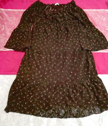 焦茶ブラウン長袖花柄フレアレースチュニック/ワンピース/トップス Dark brown long sleeve flower pattern lace tunic onepiece tops_画像1