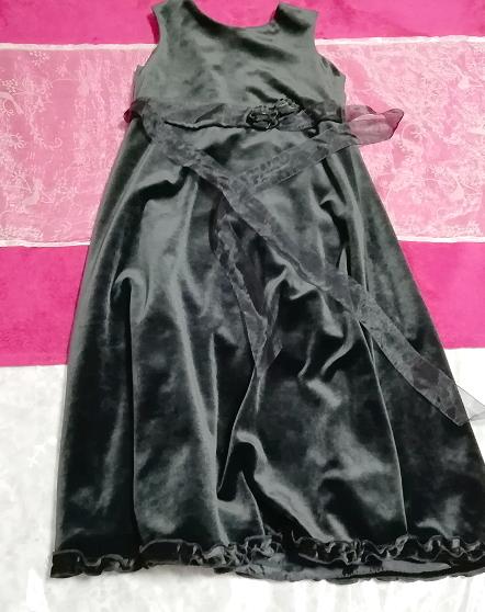 モロッコ製黒ブラックベロアリボンノースリーブワンピースドレス Made in morocco black velour ribbon sleeveless onepiece dress_画像2
