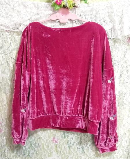 ピンク光沢長袖花柄チュニック/トップス Pink luster long sleeve flower pattern tunic tops_画像4