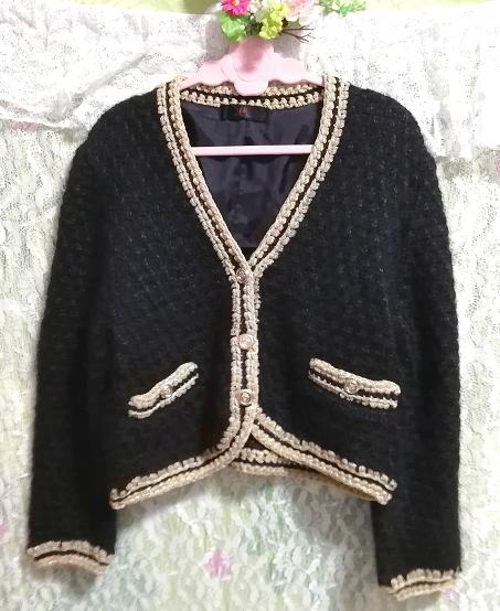 黒と金絹シルク編みニットセーター/カーディガン/羽織 Black and gold silk knit sweater cardigan coat_画像1