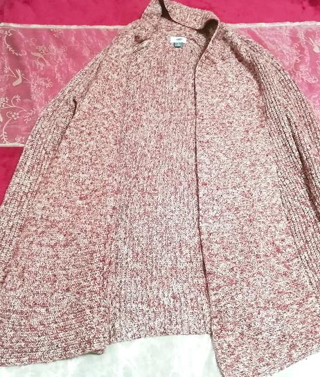 赤紫ニットセーター/カーディガン/羽織 Red purple knit sweater cardigan coat_画像2